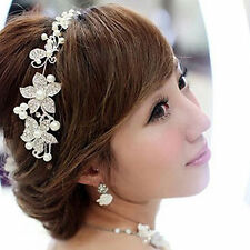 Bridal Wedding Flower Delicate Pearls Beauty Crystal Chic Headband Hair Clip.
