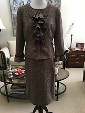 NWT Philippe Adec Mahogany Brown Tweed Lined Skirt Suit Size 10 Wool Silk Blend