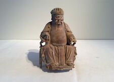 18-19th century Chinese God of earth 土地公 in original natural wood conditon.