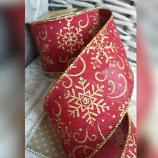 Wired Christmas Hessian Red Gold & Glitter Snowflake Ribbon Bow Tree Wreath Xmas