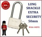 Heavy Duty Extra Long Shackle Padlock 50mm Hardened Steel & Solid Brass Cylinder