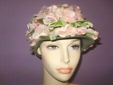 VINTAGE 60'S LADIES MULTI PINK OLIVE GREEN, VELVET FLOWERS FLOWERS FLOWERS