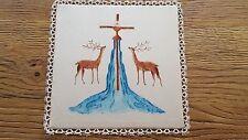 Ancienne pale de calice en lin et soie peinte dentelle Réf 12355