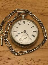 Reloj de bolsillo Antiguo Década de 1890 Plata Maciza de hombre cara abierta con protector de la cadena Albert