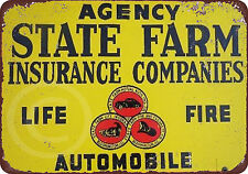 State Farm Insurance Companies Vintage Look Reproduction Metal Sign 8 x 12