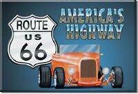 ROUTE 66 Hot Rod BLECHSCHILD USA GROß NEU 41x32cm 729 large tin sign V8 Ford