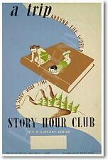 A Trip Around the World - Story Hour Club - NEW Vintage WPA Reprint POSTER