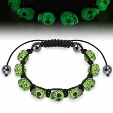 Shamballa Style Bracelet with Glow in the Dark Skull Beads