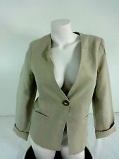 NWT FOR CYNTHIA WOMENS BEIGE SINGLE BUTTON 100% LINEN BLAZER JACKET SIZE M