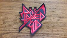 RAPED GOD 666,SEW ON RED EMBROIDERED PATCH