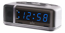Acctim Excelsior Blue LED Mains Electric Bold Silver Bedside Alarm Clock 15077