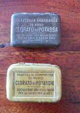 Antica farmacia 2 scatole oro argento clorato potassio rare tin metal medicine