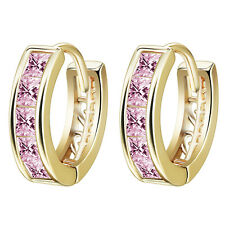 Exquisite 18K White Gold Plated Pink Cubic Zircon Hoop Huggie Earrings