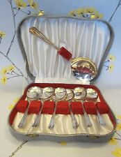 Vintage boxed set of 6 + 1 silver plated epns Ashberry DESSERT SPOONS. Sheffield
