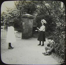 Glass Magic Lantern Slide EDWARDIAN CHILDREN PLAYING C1900 PHOTO