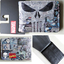 New Marvel Comics The Punisher The skeleton Logo wallets Purse Gray 12cm Leather