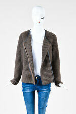 Brunello Cucinelli Brown Metallic Cashmere Chunky Ribbed Zip Cardigan SZ XXL