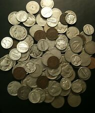 Old US Silver 4 Coin Lot Buffalo V Nickels Indian Cents Mercury Dimes Iconic Set