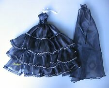 Beautiful Black Gown Party Costumes Handmade for Barbie, Dolls Dress up Outfit