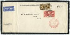 Rare 1936 Airmail cover to Brazil signed Anthony Eden 5s Seahorse + 2 x 1s