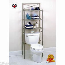 Bathroom Shelf Organizer Metal Over the Toilet Rack Nickel Storage Cabinet Towel