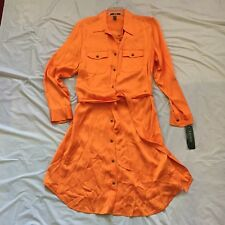 Lauren Ralph Lauren Orange Women's Plus Belted Shirt Dress 100%Viscose,16W,NWT