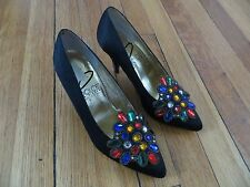 Vintage 80s 90s Dolce by Pierre gem stud heels shoes black womens size 5.5 5 1/2