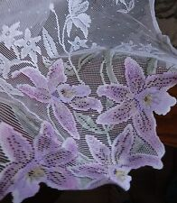 Easter Spring ORCHID & WHITE LACE Floral Oblong Tablecloth 60 x102 NWT POLYESTER