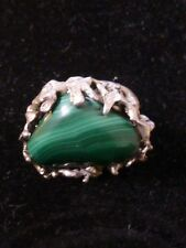 Sterling Silver Abstract Ring With Malachite Stone