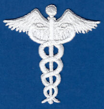 CADUCEUS, WHITE - MEDICAL- PROFESSION - DOCTOR - MEDIC-Iron On Embroidered Patch
