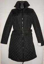 NEW Michael Kors black quilted coat with stud belt Size M RRP £310