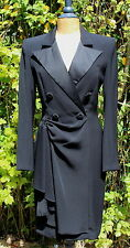 BELLEVILLE SASSOON LORCAN MULLANY Bespoke Vintage Black Silk Tuxedo Dress UK 10