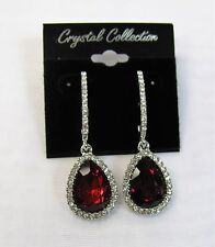 Silver Plated Red Rhinestone Crystal Teardrop Dangle Earrings # 184  Prom Bridal