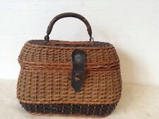 Antique Vintage 1930's French Wicker Handbag Leather Handle