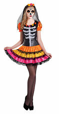 Day of The Dead Senorita Costume Ladies Halloween Fancy Dress Skeleton Outfit