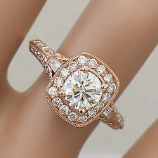 14k Rose Gold Round Cut Diamond Engagement Ring And Bands Halo Antique 1.95ctw