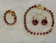 """CHIC! ROSE PINK Rhinestone Jewelry Set Necklace Earrings for Cissy 20-22"""" Doll"""
