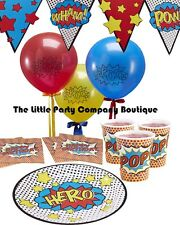 Comic Book Super Hero Pow Kaboom Birthday Party Tableware Decoration Kit For 16