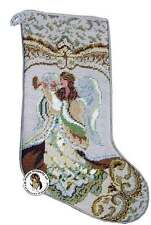 NEW GOLD THREAD MUSICAL ANGEL WITH HORN NEEDLEPOINT CHRISTMAS STOCKING 17""