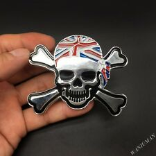 Metal UK Flag Devil Skull Emblem Car Badge Motorcycle Sticker Honda Toyota Mini