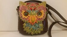 Animal Shape Cross Body Leather Tooled Owl Shoulder Bag Pouch Purse Hand Bag