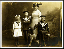 GERMAN SHORTHAIRED POINTER FAMILY AND DOG GREAT PERIOD IMAGE ON DOG PRINT POSTER