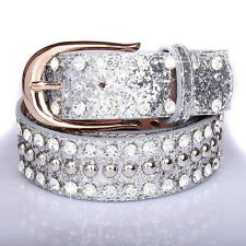Women Wide Shiny Belt Wide Rhinestone Crystal Shiny Bling Waistband Luxury  D