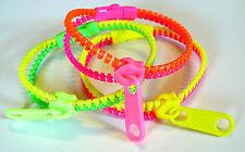 Lot de 3 Bracelet Fermeture Eclair Zip Zippé Fluo Flashy éclair Fantaisie