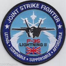 RAF Jet Royal Air Force F35 Lightning Jet Fighter Embroidered Crest Badge Patch