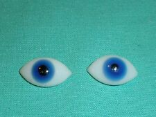 """pair of old glass eyes blue lens shape 0.68"""" x 0.39"""""""