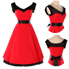 Vintage Retro Swing 50s 60s pinup Housewife Prom party Dress Red&BLK