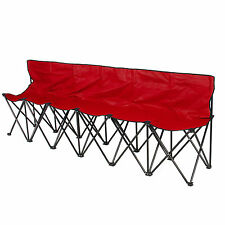 6 Seat Folding Bench Sports Sideline Chairs Portable With Carrying Case Red