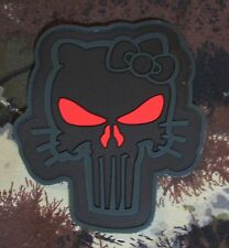 3D PVC PUNISHER SKULL HELLO KITTY FOREST OPS RED VELCRO® BRAND FASTENER PATCH
