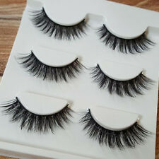 3 Pairs Natural Thick Long Eye Lashes Makeup Handmade Fake Cross False Eyelashes